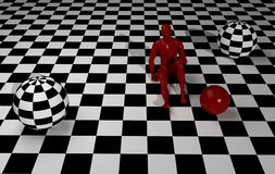 Checkered  art composition with red man Stock Image