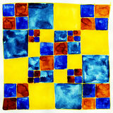 Checkered background. Blue and yellow. Royalty Free Stock Photography