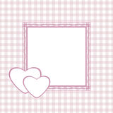 Checkered background with frame for greeting wrapping to the Valentines Day Stock Photography