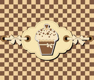 Checkered background with muffin Royalty Free Stock Photo