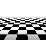 Checkered Background In Perspective. Checkered background floor pattern in perspective with a black and white geometric design fading to white in the distance Stock Images