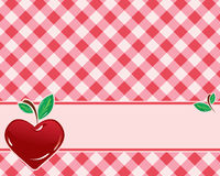 Checkered background in red tones. Decorated with heart-shaped cherries. Vector stock illustration