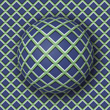 Checkered ball rolling along the checkered surface. Abstract vector optical illusion. Illustration. Extravagant background and tile of seamless wallpaper Stock Photography