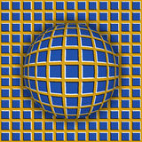 Checkered ball rolling along the checkered surface. Abstract vector optical illusion. Illustration. Extravagant background and tile of seamless wallpaper Royalty Free Stock Photography