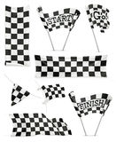 Checkered banners and flags Stock Images