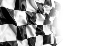 Checkered flag. Checkered black and white racing flag on white Royalty Free Stock Photos