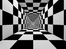 Checkered black and white tunnel Royalty Free Stock Photos