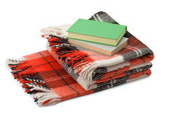 Checkered blanket and books Royalty Free Stock Photography