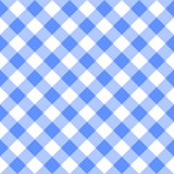 Checkered blue and white plaid seamless pattern. Gingham fabric design background. Checkered blue and white plaid seamless pattern. Gingham fabric design vector illustration