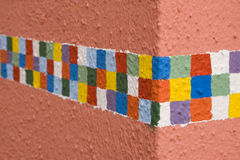Checkered Border. Painted around the corner of a building Stock Images