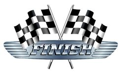 Checkered, Chequered, Flags Motor Racing Sport, Finish. Checkered, Chequered, Flag FINISH with metal grill and words in reflected metal Royalty Free Stock Photos