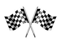 Checkered, Chequered Flags Motor Racing, Sport, Start or Finish. Checkered Rippled black and white crossed Chequered Flag vector illustration