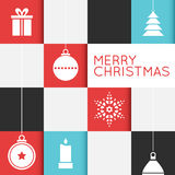 Checkered Christmas Card with Stylized Ornaments Royalty Free Stock Image