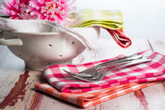Checkered cloth napkins Stock Images