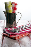 Checkered cloth napkins Stock Photo