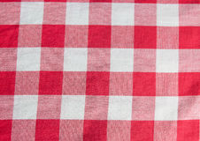 Checkered cloth. Red checkered material texture close-up Royalty Free Stock Photography