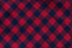 Checkered cloth texture with red and blue stripes. Close-up Stock Image