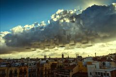 Checkered clouds Royalty Free Stock Image