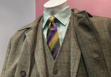 Checkered coat & suit with striped tie. Close-up of a grey & yellow checkered coat and suit with light green checkered shirt and striped tie royalty free stock image