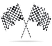 Развевая checkered флаг гонок также вектор иллюстрации притяжки corel Стоковые Фото