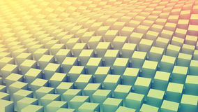 Checkered cubes surface waving. Abstract 3D render Royalty Free Stock Image