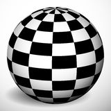 Checkered 3d sphere with shading and shadow. Orb, ball with squa Royalty Free Stock Photos