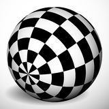 Checkered 3d sphere with shading and shadow. Orb, ball with squa Stock Photos