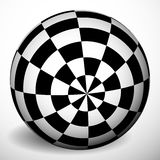 Checkered 3d sphere with shading and shadow. Orb, ball with squa Royalty Free Stock Photography