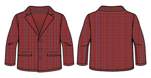 Checkered dark-red jacket. Front and back view of a checkered dark-red jacket stock illustration