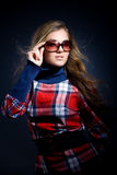 In checkered dress Stock Images