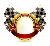 Checkered Emblem der Markierungsfahne Stockbilder
