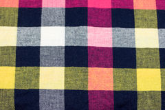 Checkered Fabric. Macro shot of a colorful checkered fabric background Stock Photo