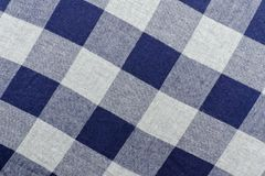 Checkered fabric. Gray and blue color. Close up Royalty Free Stock Photos