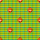 Checkered fabric green with orange buttons Stock Photo