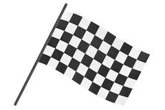 Checkered finish flag. Isolated on white background Stock Photos