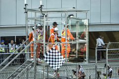 Checkered finish flag over the Speedway Grand Prix. Sochi Circuit. Grand Prix of Russia. Formula One. Checkered finish flag over the Speedway Grand Prix Royalty Free Stock Image