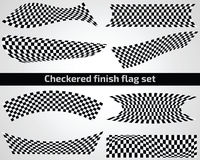 Checkered finish flag set. On white background Stock Photos
