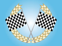 Checkered flag. Two chequered flags and a laurel wreath Stock Photography