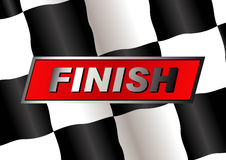 Checkered flag. With FINISH badge on it stock illustration
