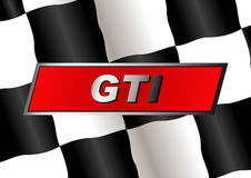 Checkered flag. With GTI badge on it royalty free illustration
