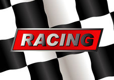 Checkered flag. With RACING badge on it stock illustration