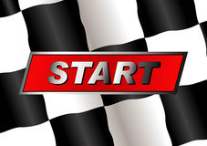 Checkered flag. With START badge on it stock illustration