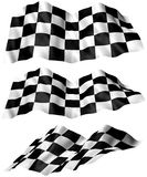 Checkered Flag. 3 angles of a Checkered Flag. Part of a flag series. 3D illustration Stock Images