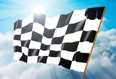 Checkered flag. Against a background of the sky. Illustration Stock Image