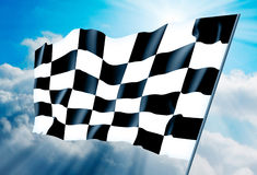 Checkered flag. Against a background of the sky. Illustration Royalty Free Stock Images