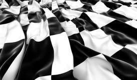 Checkered flag. Wrinkled checkered flag - 3D render Stock Photos