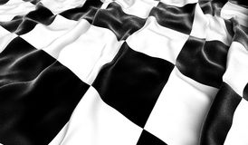 Checkered flag. Waving checkered flag - 3D render Royalty Free Stock Photography