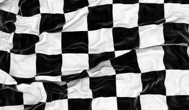 Checkered flag. Wrinkled checkered flag - 3D render Royalty Free Stock Photos