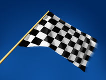 Checkered flag. Race flag checkered, sky background stock illustration