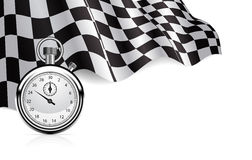 Checkered flag. With a stopwatch background Royalty Free Stock Image